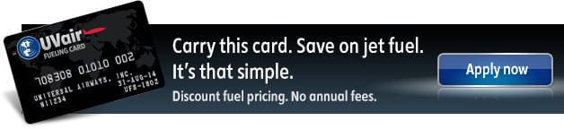 Carry the UVair Fueling Card and save on jet fuel. It's that simple. UVair - Fueling Services from Universal Weather and Aviation