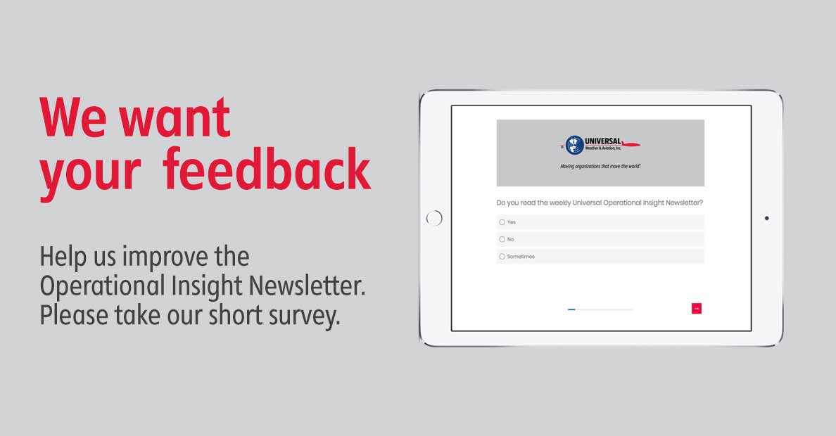 We want your feedback. Help us improve the Operational Insight Newsletter. Please take our short survey.